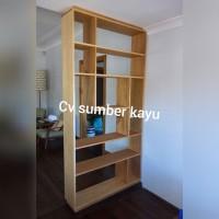 partisi ruangan / sekat ruangan rak penyimpanan kayu