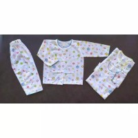 Setelan Baju Tidur Bayi Motif Lengan Panjang Kancing Usia 3-6 Bulan