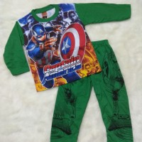 Baju Tidur Piyama Anak Laki 2-7 thn Motif Captain America