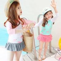 Baju Renang Anak Perempuan Flamingo Impor / Swimsuit Diving Set Girl