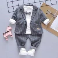 baju bayi setelan jas grey & navy dengan kaos dasi kupu kupu for baby