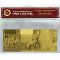 uang kuno 100000 gold foil emas