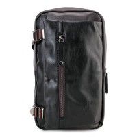 Urban State - Buckled Zipper Slingbag - Brown Black