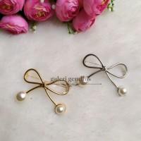 Bros Simple Pita Besar - Brooch Pearl - Gold