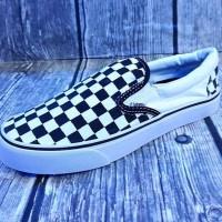 Sepatu Vans Slip On Slop Checkerboard Hitam Putih Motif Catur Kotak