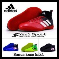 Terhot Sepatu Futsal Anak Adidas Techfit X Abu Hijau Stabilo - Merah,