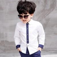 [kid dexsen white OT] kemeja anak laki katun stretch putih