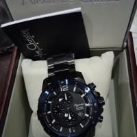 jam pria sporty AC 6410 tali rantai hitam kombinasi biru