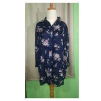 Baju Big Size | Atasan Wanita Motif Bunga warna Biru dongker