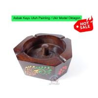 Asbak Kayu Utuh Painting / Ukir Cukil Handmade Model OKTAGON
