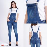 Jumpsuit Jeans Overall Celana Kodok panjang wanita basic hitam 1746 - Biru Tua, 34