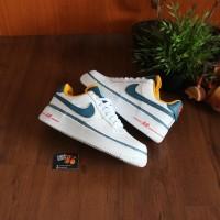 Sepatu Nike Aor Force 1 Low Swoosh Chain White Blue
