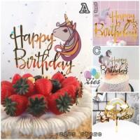 Cake topper happy birthday / tusukan hiasan kue acrylic unicorn