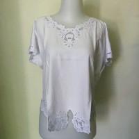 Baju Blouse Bordir Bali Putih dan cream - Putih, XXXL