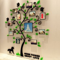 [Bayar Di Tempat]3D Acrylic Photo Frame Tree Wall Sticker Living Room