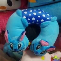 Set bantal headrest kepala jok leher mobil menyusui boneka stitch biru