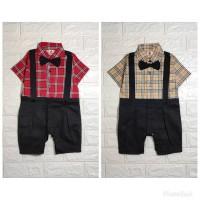Baju Kondangan Anak Bayi Romper Tuxedo Bayi Baju Bayi Laki Victor - Merah