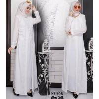 Baju Gamis Putih Lebaran Umroh Haji / Baju Busana Muslim Wanita # 208