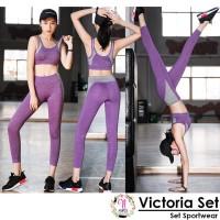 VICTORIA SET setelan baju senam wanita legging aerobic gym yoga fitnes
