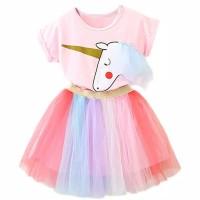 kaos rok tutu unicorn import,baju anak cewek/perempuan,dress anak