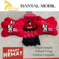 PAHE 9 PCS BANTAL MOBIL MICKEY MINI MOUSE / TEMPAT SAMPAH MOBIL
