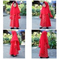 Baju muslim gamis anak motif warna merah bahan katun -M