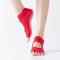Kaos Kaki Yoga Socks Half Toe Anti Slip Gym Pilates Ballet Fitness