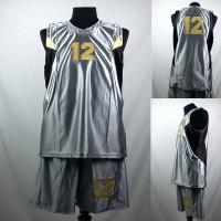 Setelan Baju/Kaos Bola Basket Team/Tim Dewasa Silver