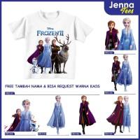 Frozen 2 ELSA ANNA - Kaos / Baju Anak Gratis cetak nama custom - 0, Lengan Pendek