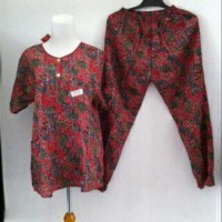 Ternama Setelan Celana Panjang Batik Kencana Ungu / Baju Tidur Batik