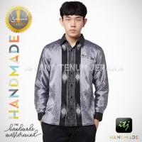 Kemeja Batik Pria Mewah / Baju Tenun Baron Silver Premium Sulam