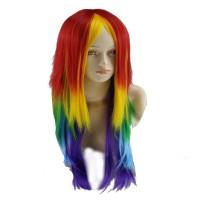 Wig pelangi panjang rambut lurus lolita anime cosplay idol lingerie
