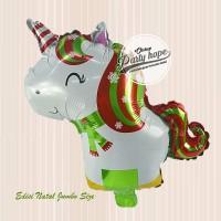 balon foil unicorn xmas JUMBO / balon unicorn natal / merry christmas