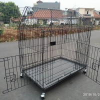(Size XXL 90x60x95) Kandang kucing Anjing Roda tanpa tingkat