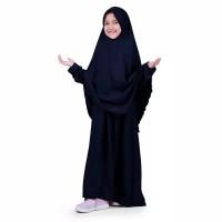 Bajuyuli - Baju Muslim Anak Perempuan Gamis Syar'i Polos Wolly - Navy