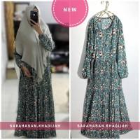 Set Syari Muslim motif bunga plisket gamis pesta khimar instant SK13
