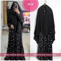 Set Syari Muslim motif bunga gamis pesta hitam khimar instant SK19