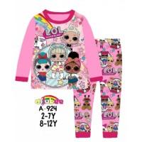 Piyama Baju Tidur Anak Perempuan Panjang Ailubee LOL suprise Pink