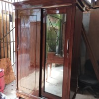 lemari pakaian 2 pintu sliding kayu jati