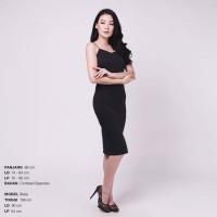 Plain Bodycon Cami Dress Spagetti Midi Dress Gaun Wanita Ketat Sexy