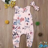 Jumper bayi warna pink / Romper bunga buat bayi / baju bayi perempuan