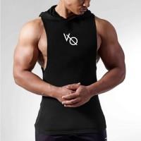 Baju Singlet Hoodie Lowcut Gym Fitness Training Punisher Fitnes Pria