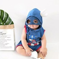 baju bayi setelan anak laki-laki hoddie kostum hero captain america