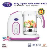 Baby Safe 3-in-1 Digital Food Maker LB02 Kukus Blender Sterilizer Bayi