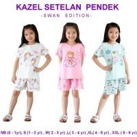 Kazel Setelan Pendek Swan Edition Piyama Baju Anak Perempuan 3Stel