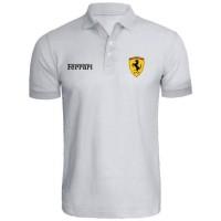 Kaos Kerah - Polo Shirt Ferrari Putih