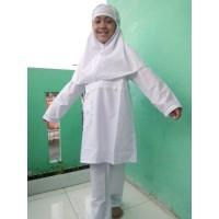 Baju Muslim Setelan Anak Perempuan Warna Putih 4, 5, 6, 7, 8 Tahun
