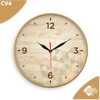 Jam Dinding motif kayu coklat simple - CV4
