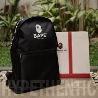 A Bathing Ape BAPE Logo Black Backpack Original / Tas Ransel Hitam Bag - Tanpa Paperbag