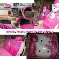 Sarung Jok Toyota Yaris 18 in 1 Motif Hello Kitty Pink part mobil
